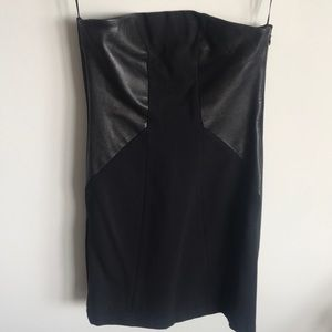 NWT Theory Strapless Leather Panel Mini Dress S4/6